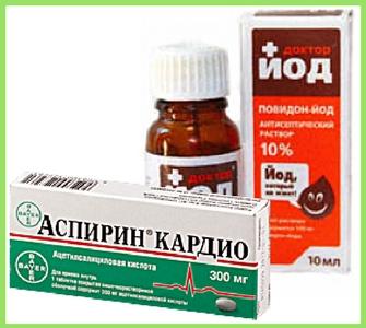 Полезные свойства йода и аспирина для косточки на ноге